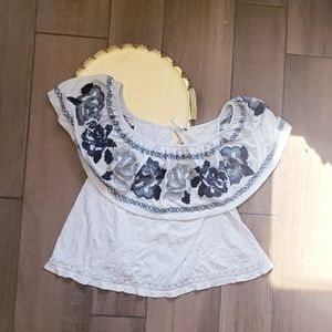Free People Embriodered Cross Stitch Ruffle Top L